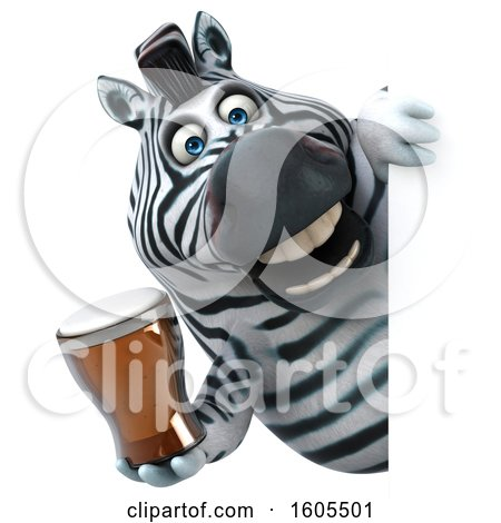 Clipart of a 3d Zebra Holding a Beer, on a White Background - Royalty Free Illustration by Julos