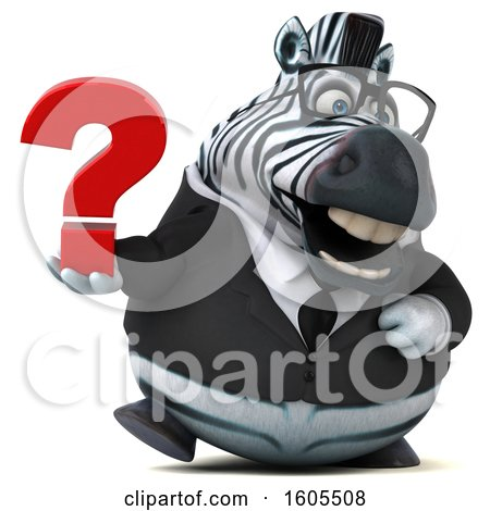 Clipart of a 3d Business Zebra Holding a Question Mark, on a White Background - Royalty Free Illustration by Julos