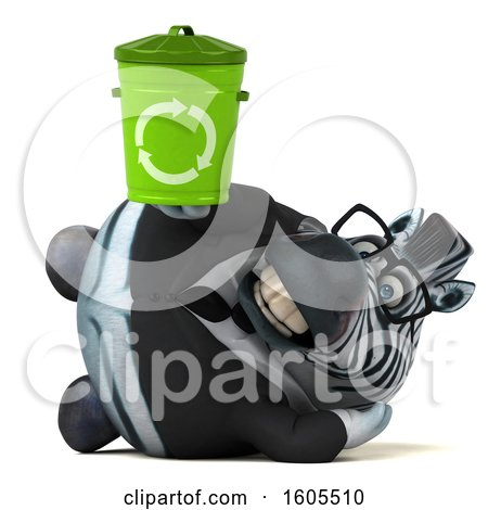 Clipart of a 3d Business Zebra Holding a Recycle Bin, on a White Background - Royalty Free Illustration by Julos