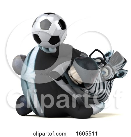 Clipart of a 3d Business Zebra Holding a Soccer Ball, on a White Background - Royalty Free Illustration by Julos