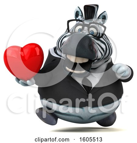 Clipart of a 3d Business Zebra Holding a Heart, on a White Background - Royalty Free Illustration by Julos