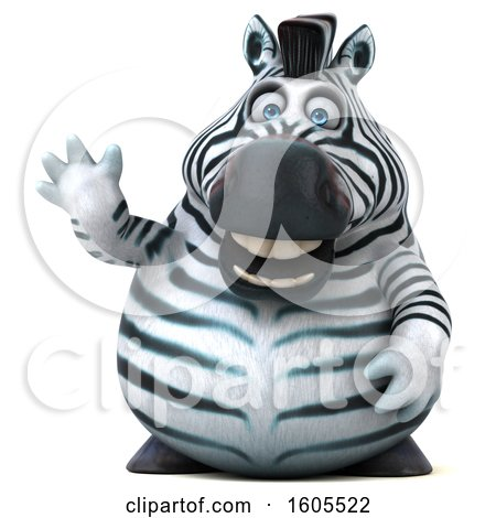 Clipart of a 3d Zebra Waving, on a White Background - Royalty Free Illustration by Julos