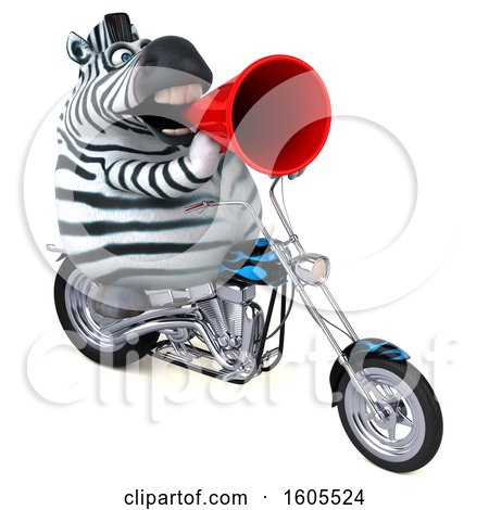 Clipart of a 3d Zebra Riding a Motorcycle, on a White Background - Royalty Free Illustration by Julos
