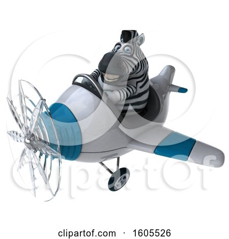 Clipart of a 3d Zebra Flying a Plane, on a White Background - Royalty Free Illustration by Julos