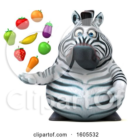Clipart of a 3d Zebra Holding Produce, on a White Background - Royalty Free Illustration by Julos