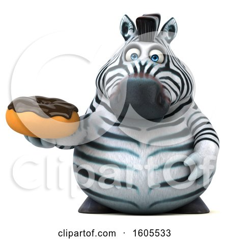 Clipart of a 3d Zebra Holding a Donut, on a White Background - Royalty Free Illustration by Julos