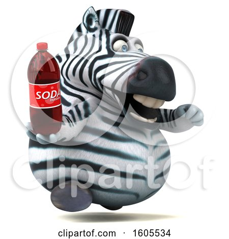 Clipart of a 3d Zebra Holding a Soda, on a White Background - Royalty Free Illustration by Julos
