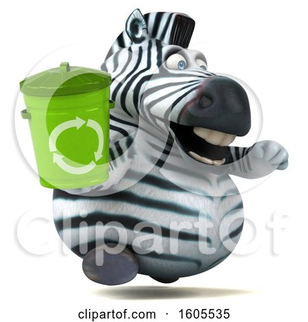Clipart of a 3d Zebra Holding a Recycle Bin, on a White Background - Royalty Free Illustration by Julos