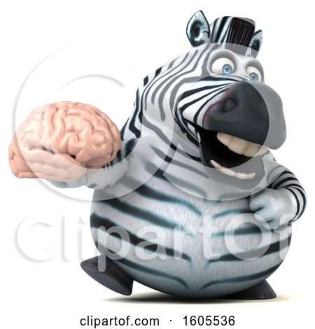 Clipart of a 3d Zebra Holding a Brain, on a White Background - Royalty Free Illustration by Julos
