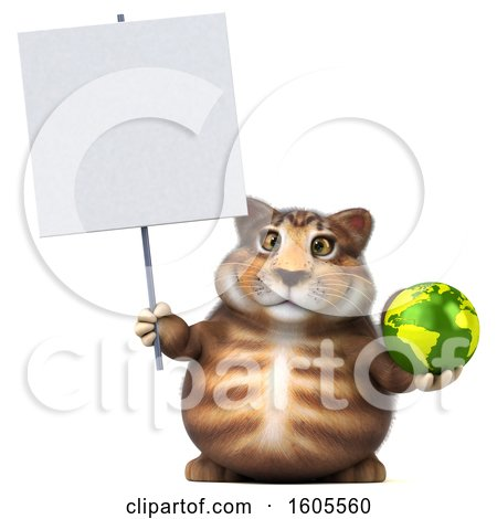 Clipart of a 3d Tabby Kitty Cat Holding a Globe, on a White Background - Royalty Free Illustration by Julos
