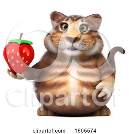 Clipart of a 3d Tabby Kitty Cat Holding a Strawberry, on a White Background - Royalty Free Illustration by Julos