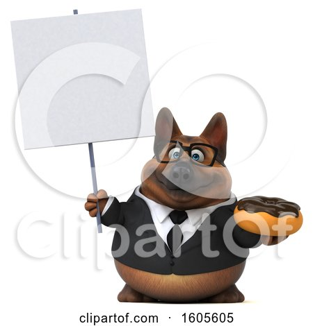 Clipart of a 3d Business German Shepherd Dog Holding a Donut, on a White Background - Royalty Free Illustration by Julos