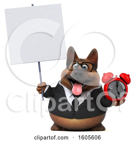 Clipart of a 3d Business German Shepherd Dog Holding an Alarm Clock, on a White Background - Royalty Free Illustration by Julos