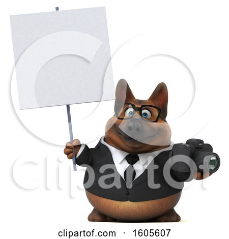 Clipart of a 3d Business German Shepherd Dog Holding a Camera, on a White Background - Royalty Free Illustration by Julos