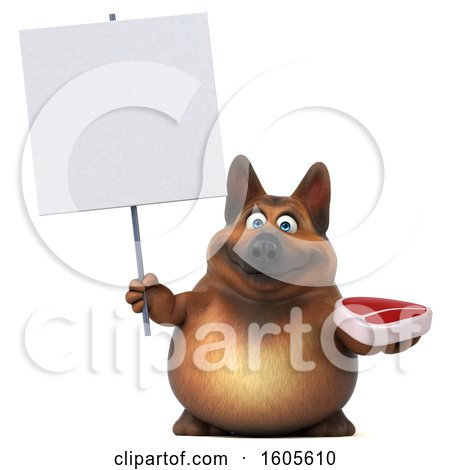 Clipart of a 3d German Shepherd Dog Holding a Steak, on a White Background - Royalty Free Illustration by Julos