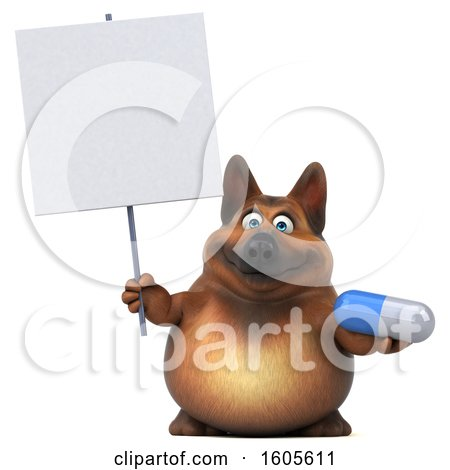 Clipart of a 3d German Shepherd Dog Holding a Pill, on a White Background - Royalty Free Illustration by Julos