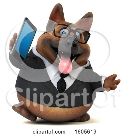 Clipart of a 3d Business German Shepherd Dog Holding a Smart Phone, on a White Background - Royalty Free Illustration by Julos