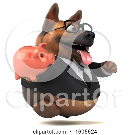 Clipart of a 3d Business German Shepherd Dog Holding a Piggy Bank, on a White Background - Royalty Free Illustration by Julos