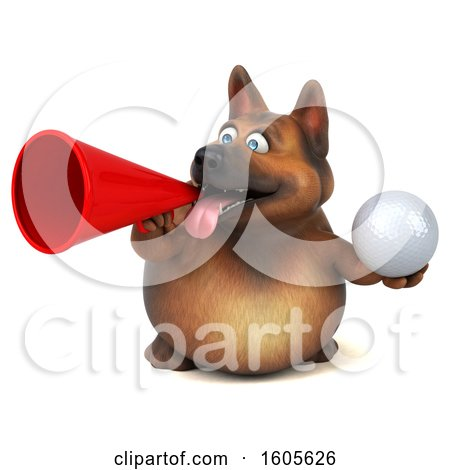Clipart of a 3d German Shepherd Dog Holding a Golf Ball, on a White Background - Royalty Free Illustration by Julos