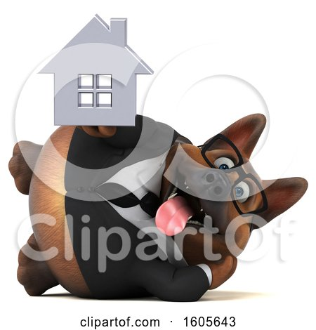 Clipart of a 3d Business German Shepherd Dog Holding a House, on a White Background - Royalty Free Illustration by Julos