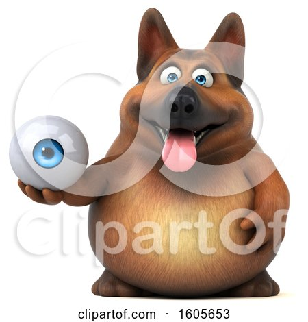 Clipart of a 3d German Shepherd Dog Holding an Eyeball, on a White Background - Royalty Free Illustration by Julos