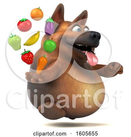 Clipart of a 3d German Shepherd Dog Holding Produce, on a White Background - Royalty Free Illustration by Julos