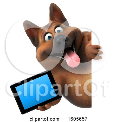 Clipart of a 3d German Shepherd Dog Holding a Tablet, on a White Background - Royalty Free Illustration by Julos