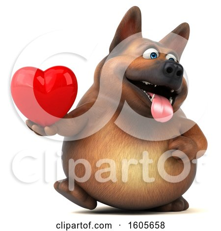 Clipart of a 3d German Shepherd Dog Holding a Heart, on a White Background - Royalty Free Illustration by Julos