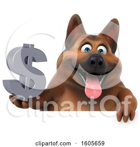 Clipart of a 3d German Shepherd Dog Holding a Dollar Sign, on a White Background - Royalty Free Illustration by Julos
