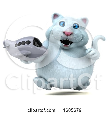 Clipart of a 3d White Kitty Cat Holding a Plane, on a White Background - Royalty Free Illustration by Julos