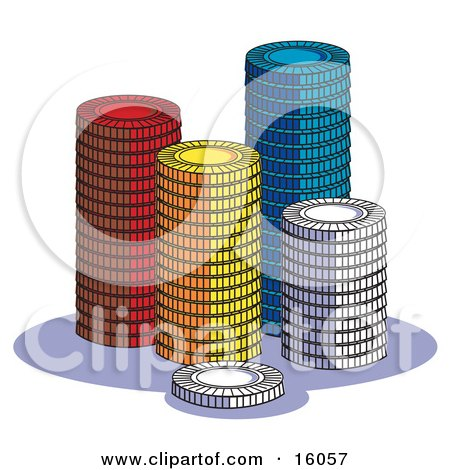Stacks Of Red, Yellow, Blue And White Poker Chips In A Casino Clipart Illustration by Andy Nortnik