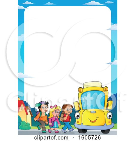 Clipart of a Border of Happy Yellow School Bus and Children at a Stop - Royalty Free Vector Illustration by visekart