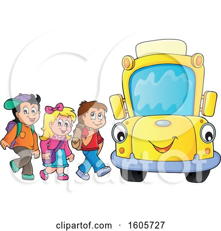 Clipart of a Happy Yellow School Bus and Children at a Stop - Royalty Free Vector Illustration by visekart