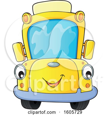 Clipart of a Happy Yellow School Bus - Royalty Free Vector Illustration by visekart