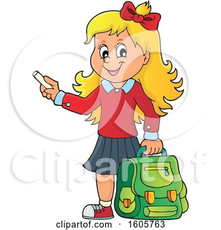 Happy Blond School Girl Holding a Backpack and Piece of Chalk Posters, Art Prints