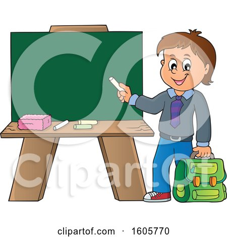 Clipart of a Happy Boy Holding a Backpack and Piece of Chalk by a Chalkboard - Royalty Free Vector Illustration by visekart