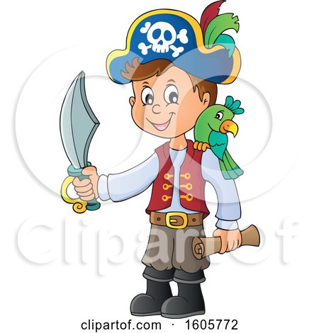 Clipart of a Boy Pirate with a Parrot, Sword and Treasure Map in Hand - Royalty Free Vector Illustration by visekart