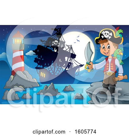 Clipart of a Boy Pirate with a Parrot, Sword and Treasure Map in Hand on a Cliff, with a Lighthouse and Ship in the Distance - Royalty Free Vector Illustration by visekart