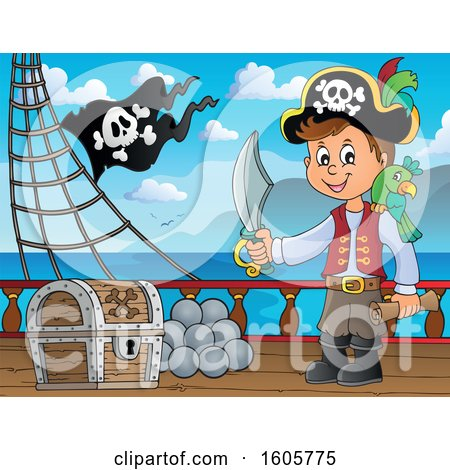 Clipart of a Boy Pirate on a Ship Deck - Royalty Free Vector Illustration by visekart