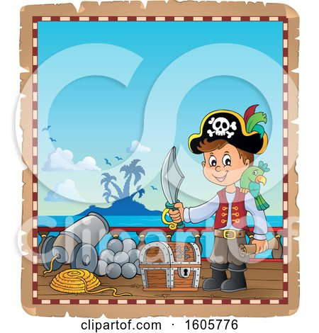 Clipart of a Parchment Border of a Boy Pirate on a Ship Deck - Royalty Free Vector Illustration by visekart