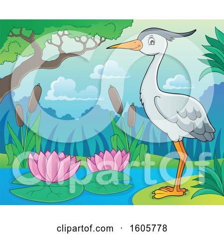 Clipart of a Heron Bird on the Shore - Royalty Free Vector Illustration by visekart