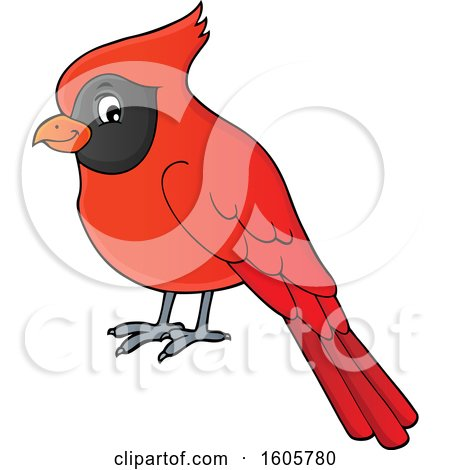 Clipart of a Red Cardinal Bird - Royalty Free Vector Illustration by visekart
