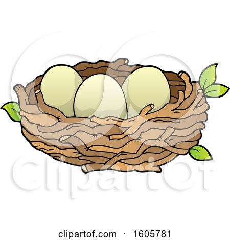 Clipart of a Bird Nest with Eggs - Royalty Free Vector Illustration by visekart