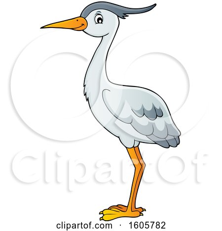 Clipart of a Heron Bird - Royalty Free Vector Illustration by visekart