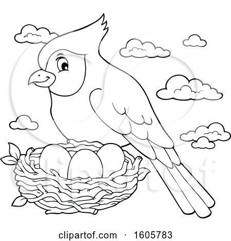 Clipart of a Black and White Cardinal Bird and Nest - Royalty Free Vector Illustration by visekart