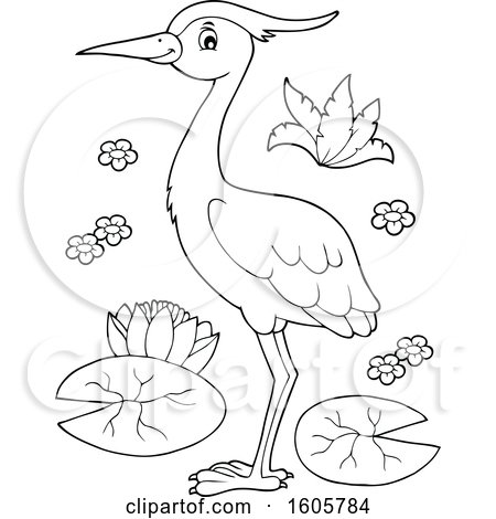 Clipart of a Black and White Heron Bird with Lily Pads - Royalty Free Vector Illustration by visekart