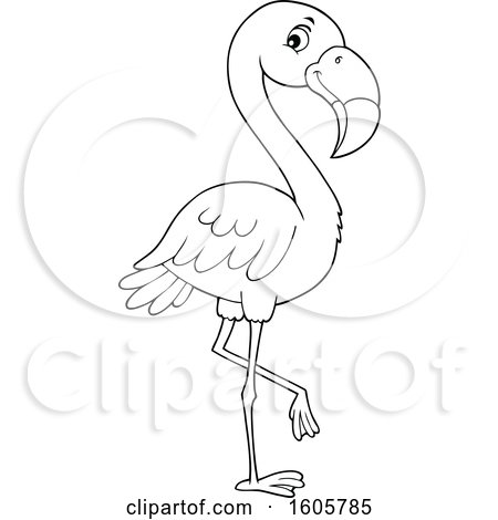 Clipart of a Black and White Flamingo Bird - Royalty Free Vector Illustration by visekart