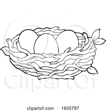 Clipart of a Black and White Bird Nest with Eggs - Royalty Free Vector Illustration by visekart