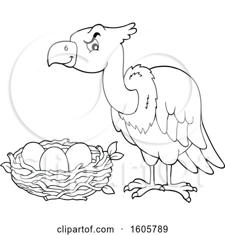 Clipart of a Vulture Bird over a Nest - Royalty Free Vector Illustration by visekart