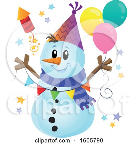 Clipart of a Festive Party Snowman with Balloons and a Firework - Royalty Free Vector Illustration by visekart